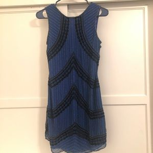 Parker Blue Beaded and Lace Detailed Mini Dress